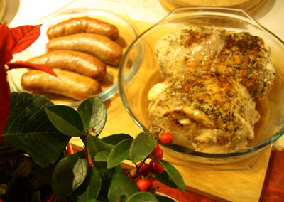 Sausages and turkey and pork roast